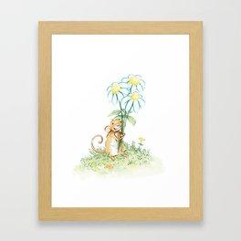 Mouse Holding Flowers Framed Art Print
