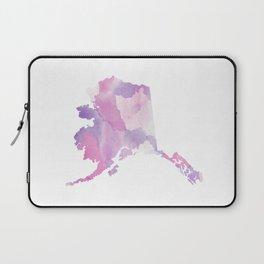 Watercolor State Map - Alaska AK purple Laptop Sleeve