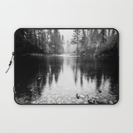 Forest Reflection Lake - Black and White  - Nature Photography Laptop Sleeve