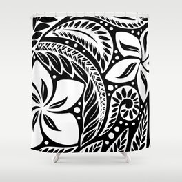 Circular Polynesian White Floral Tattoo Shower Curtain