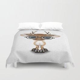 Cute Curious Nerdy Baby Deer Wearing Glasses Duvet Cover