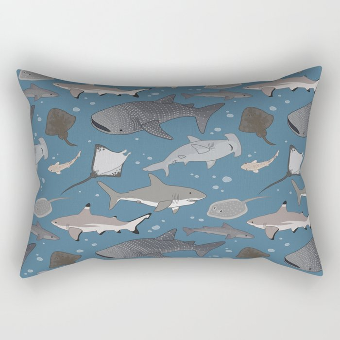 Sharks and Rays Rectangular Pillow