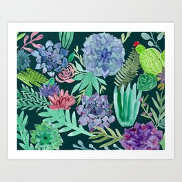 Watercolor Succulent Collage Art Print