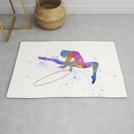 Young woman practices rhythmic gymnastics in watercolor 14 Rug