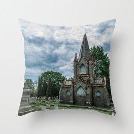Billings Mausoleum Stonington Cemetery Connecticut Graveyard Throw Pillow