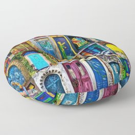 Behind Every Door (Is A Home), Collage Painting of Colorful World Doors by Jeanpaul Ferro Floor Pillow
