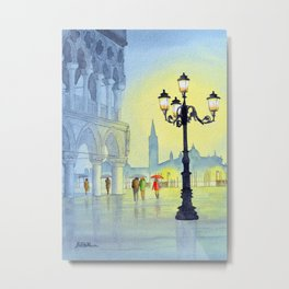 Rainy Evening In St Marks Square Venice Metal Print