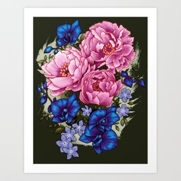 pinky and blue flowers Art Print
