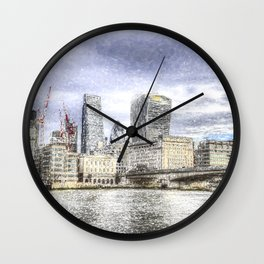 City of London and River Thames Snow Art Wall Clock