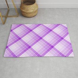 Purple Geometric Squares Diagonal Check Tablecloth Rug