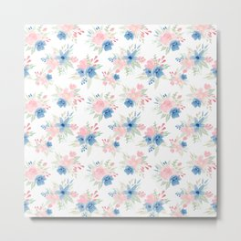 Blush Pink and Navy Watercolor Florals Metal Print