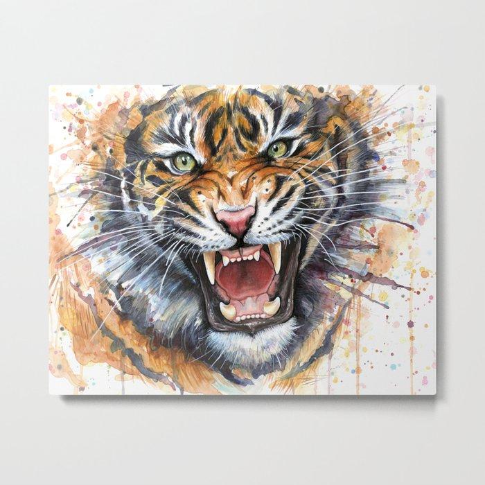 Tiger Watercolor Wild Animal Jungle Animals Metal Print
