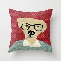 labrador Throw Pillows featuring Labrador  by Colorfly Studio