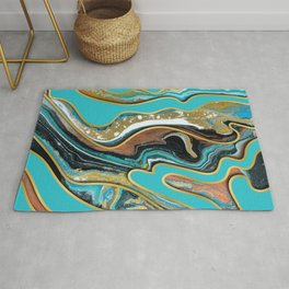 Marble Paint Texture in Gold Black and Teal Rug