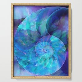 Blue Nautilus Shell  - Seashell Art By Sharon Cummings Serving Tray