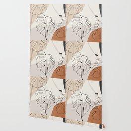 Minimal Abstract Art- Monstera Wallpaper