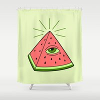 watermelon Shower Curtains featuring watermelon by gotoup