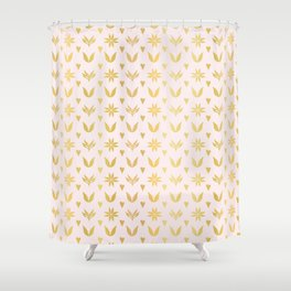 Luxe Rose Gold Winter Damask Hearts, Seamless Vector Pattern, Hand Drawn Metallic Shower Curtain