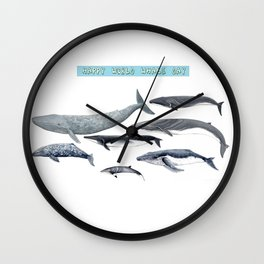 Happy world whale day Wall Clock