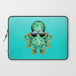 Cute Green Baby Octopus Wearing Sunglasses Laptop Sleeve