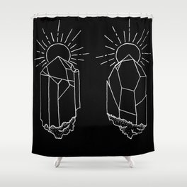 Crystals Duo Glowing Gemstones Design Shower Curtain