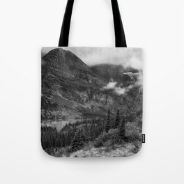 Grinnell Lake from the Trail No. 1 bw - Glacier NP Tote Bag