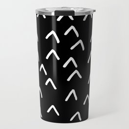 Black and White Minimalist Arrow Mountain Pattern Travel Mug