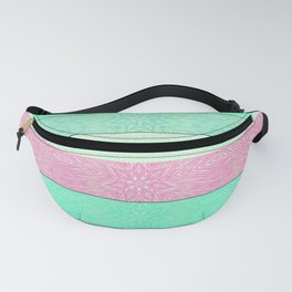 Pink Mint Green Snowflake Stripes Fanny Pack