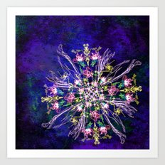 Abstract delicate silk flowers Art Print