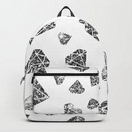 Glam Black Faux Glitter Diamond Gems Pattern Backpack