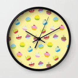 Cupcakes - yellow Wall Clock