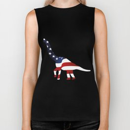 American Flag Funny Dinosaurs Biker Tank