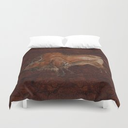 Paleolithic Bison Cave Painting Duvet Cover