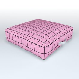 Grid Pattern - pink and black - more colors Outdoor Floor Cushion