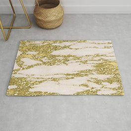 Marble - Gold Marble Glittery Light Pink and Yellow Gold Rug