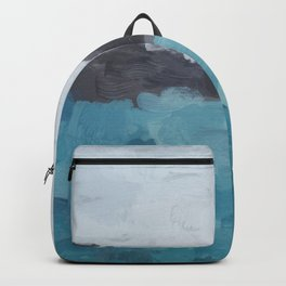 Aqua, Turquoise, Charcoal, Abstract Wall Art Ocean Painting Print, Blue Water, Modern Wall Art Backpack