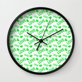 Love Heart Green Wall Clock