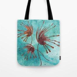 Brown Flowers on Blue Tote Bag