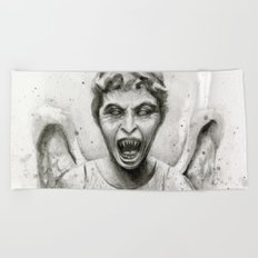 Weeping Angel Watercolor Doctor Who Art Beach Towel