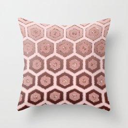 Modern Chic Pink Rose Gold Hexagon Geometric Throw Pillow