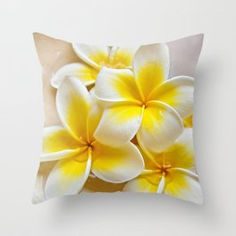 Plumeria Blossoms Throw Pillow