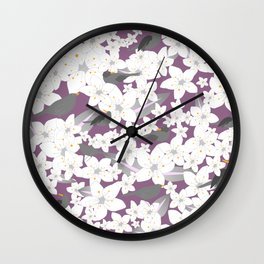 Flowers and birds on the purple background Wall Clock