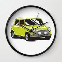 mini cooper Wall Clocks featuring Mini Cooper Car - Chartreuse by C Barrett