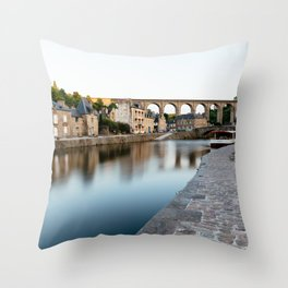 The Habour of  Dinan in France Throw Pillow