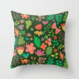 Garden Scatter - Warm Spring Colours on Dark Forest Green (floral pattern) Throw Pillow