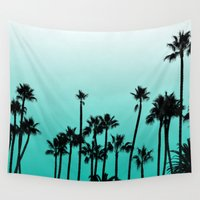 santa monica Wall Tapestries featuring Santa Monica Palms by Wicked Wildflower