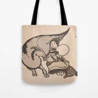 bouletcorp Tote Bags featuring Geisha & Hadrosaure by Bouletcorp