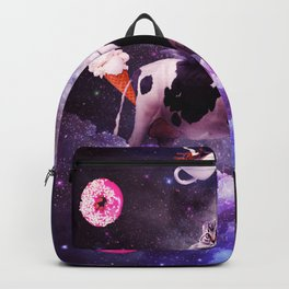 Outer Space Cat Riding Cow Unicorn - Donut Backpack