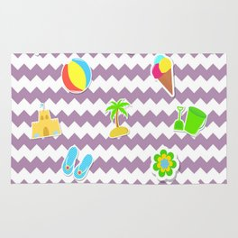 Summertime Girly Beach Pattern | Kids Pink Chevron Pop Art Rug