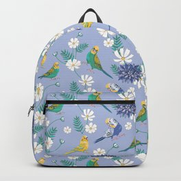 Budgies Pattern on Blue Backpack